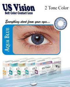 US Vision 2 Tone Contact Lenses - Aqua Blue