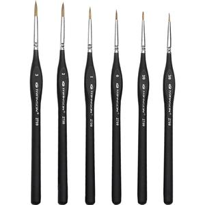 Huilopker  Detail Paint Brush with Black Pole for Miniature Watercolor Acrylic Oil Painting Drawing Liner Pen Painting Brush Models:number 1