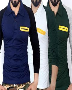Pack of 3 Raglan Polo Pocket Style T-shirts