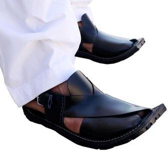 Black Leather Peshawari Traditional Sandal For Men