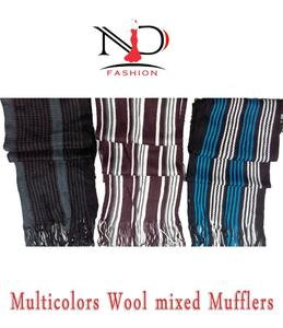 Pack Of 3 Multicolour Wool Mixed Mufflers For Men & Women