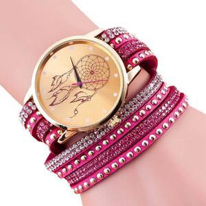 Women Crystal Rivet Bracelet Quartz Braided Winding Wrap Wrist Watch Hot