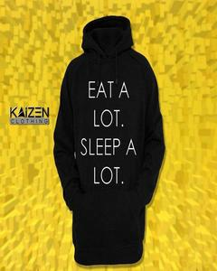 Black Eat A Lot Sleep A Lot Print Hoodie for Man