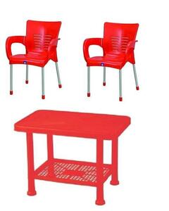 Baby Table & 2 Chairs Plastic Set- Red