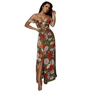 Womens Summer Casual Print Cold shoulder Lady Sling Beach Long Maxi Dress