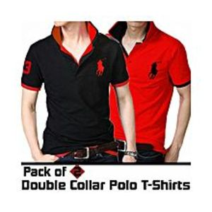 POS Pack Of 2 Double Collar Polo T-Shirts For Men