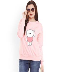 Pink Good Morning Panda Printed Sweat Shirt for Women