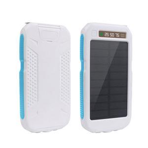 Outdoor Waterproof Solar Power Bank Dual USB Phone Charger w/ Flashlight