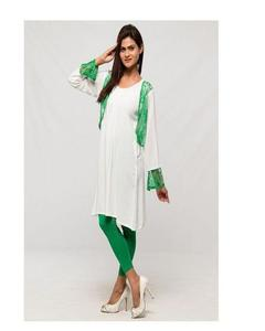 Green Net Tunic And White Tights For Women