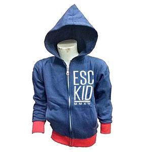 Blue Contrast Printed Fleece Hoodie For Kids