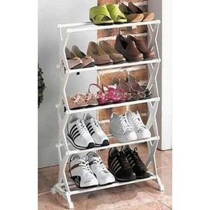 5 Shelf Portable Shoe Rack - White