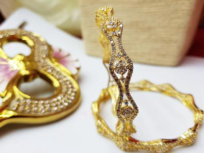 AAA+ Zirconia Style Premium 1 K Gold Plated Indian Bangles Very Fine Quality