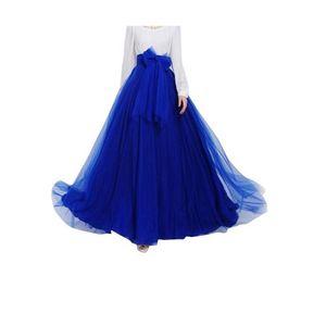 Blue Net & Silk Maxi Skirt for Women
