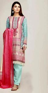Khaadi Embroidered Lawn Un-Stitched Replica Dress for Women