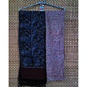 CrystalsPack of 2 Midnight Blue Pashmina Shawl Chaddar & Pigmented Red Wool Muffler