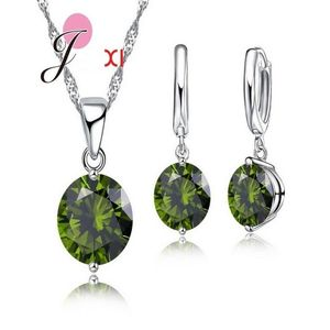 SK Silver Jewelry Set With Green Zircon Earrings Necklace For Women JS22G