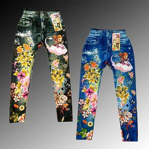 Pack of 2 Denim Print floral stretchable Tights for Small Girls