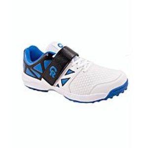 Sports City White & Blue CR Synthetic Cricket Sports Shoes for Men