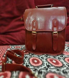 Maroon Artificial Leather Handbag For LADIES