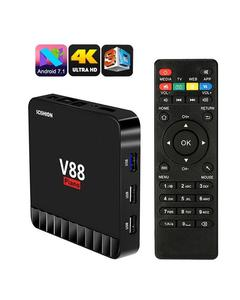 V88 Piano Smart TV Box 4GB RAM+16GB ROM Android 7.1 - 64Bit Quad Core DLNA