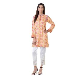 Bonanza | Satrangi Orange Cambric Printed & Embroidered Kurti for Women
