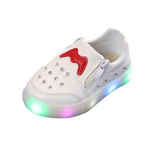 Perfect Meet Princess shoes Children Baby Girls Boys Crystal Led Light Luminous Running Sport Sneaker Shoes