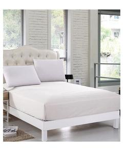 White Jersey Fitted Cotton Bed Sheet - Single Bed