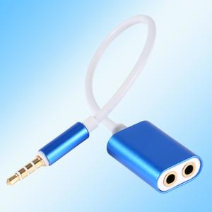 Aluminum 3.5mm Male to 2 Female Headphone Splitter Cable Adapter for Smartphone Gray