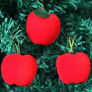 12pcs christmas Mini  Red Apples Christmas Tree Decorations Hanging Ornaments Xmas Party Decor 12pcs