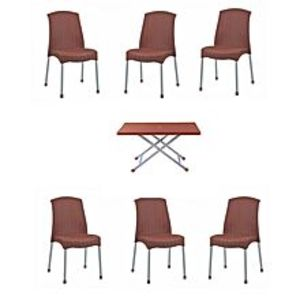 CHIEF(Boss) Set Of 6 Plastic Rattan Chairs And Folding Table- Brown