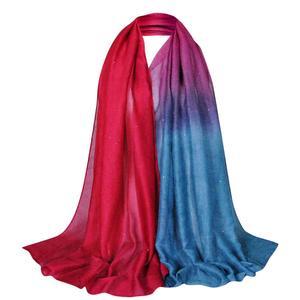 MissFortune Glitter Women Long Voile Scarf Soft Gradient Style Pashmina Wrap Shawl Stole
