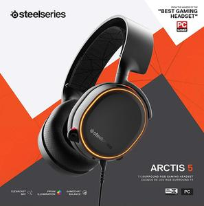 SteelSeries Arctis 5 (2019 Edition) RGB Illuminated Gaming Headset with DTS Headphone:X v2.0 Surround for PC and PlayStation 4