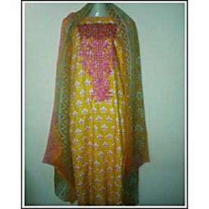 SM BAWANI COLLECTIONYellow Kameez Or Yellow Shalwar Hot Pink Embroidery Three Piece Suit - For Women - Uns