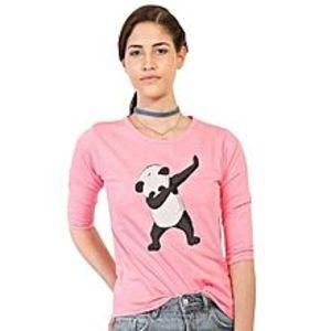 JAJJA ProductionPink Cotton Panda Printed T-Shirt for Women