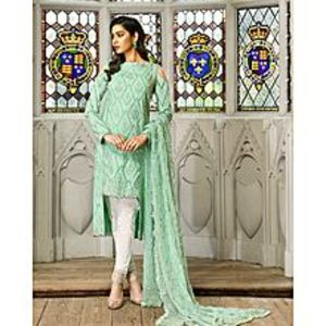 Asim JofaSpring Mint Embroidered Unstitched Luxury Lawn 3Pcs Suit for Women