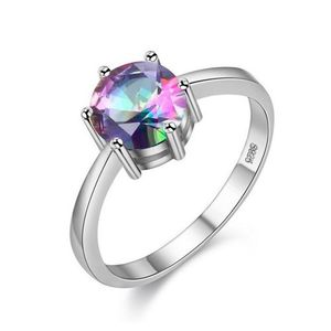 Silver Color +AAA Quality Cubic Rainbow Zirconia Ring Love Gift For Her