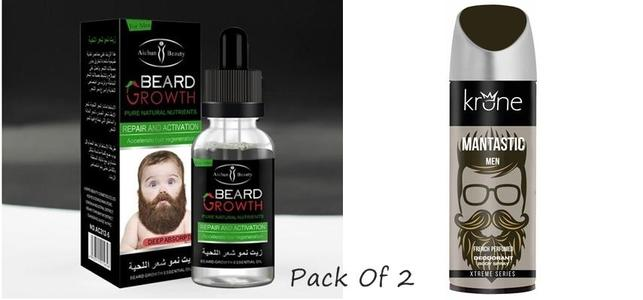 Pack of 2 - Beard Oil & Krone Mantastic Deodorant for Men
