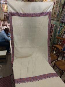 Beautiful Pashmina shawl with Colorful 4.5 inch broad computer karhai fine work with fine pashmina stuff