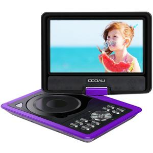 """COOAU 11.5"""" Portable DVD Player, 5 Hours Rechargeable Battery 360 Swivel Screen, Remote Control, Game Joystick, Supports Sd Card, USB, Sync Tv, Direct Play in Formats Avi, Rmvb, JPEG, Mp3, Purple"""