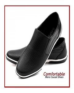 Black Leather Moccasins Shoes for Men