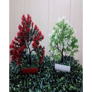 Pack of 2 Artificial Trees Decoration Piece - Red & White