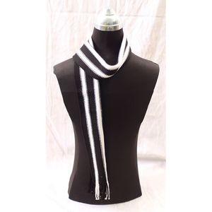 White & Black Woolen Muffler For Men