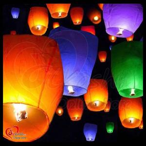 Sky Lanterns Chinese Paper Candle Lamp Fly for Wish Party Wedding -Pack of 5