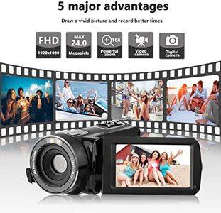 Camera Video Camera HD Camcorder,Kenuo 1080P 24MP HD Digital Recorder 3.0''TFT LCD Stabilization 270 Degree Rotation Screen Camera Bag Lithium Battery (Camera)
