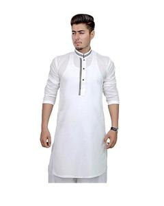 White Stitched Kurta For Men