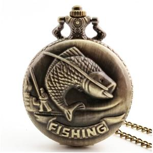 LALA Goldfish Carved Vintage Antique Round Dial Quartz Pocket Watch Clock Gifts