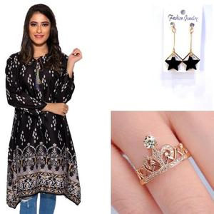 Dija's Winter Collection Kurti  & Jewelry Bundle - Pack of 8