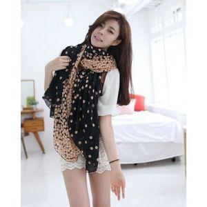 Black Fashion Dots Women Large Long Voile Scarf Shawl Wrap 165*80cm