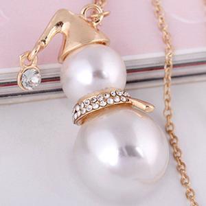Fashion Long Sweater Chain Shining Diamond Pearl Snowman Pendant Necklace