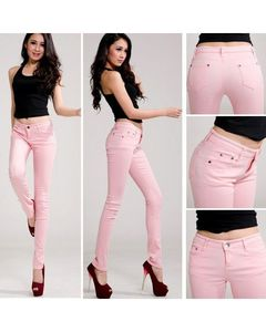 The Ajmery Womens Baby Pink Skinny Jeans BB-00030